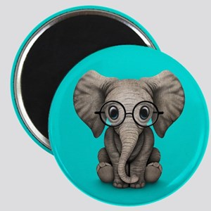 Cute Baby Elephant Calf with Reading Glasses Magne