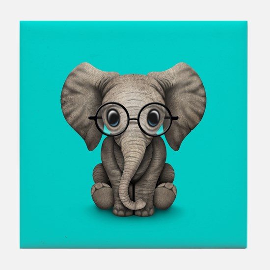 Cute Baby Elephant Calf with Reading Glasses Tile