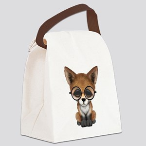 Cute Red Fox Cub Wearing Glasses Canvas Lunch Bag