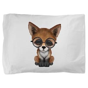 Cute Red Fox Cub Wearing Glasses Pillow Sham