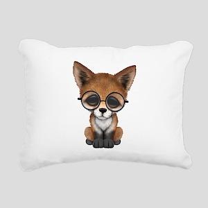 Cute Red Fox Cub Wearing Glasses Rectangular Canva