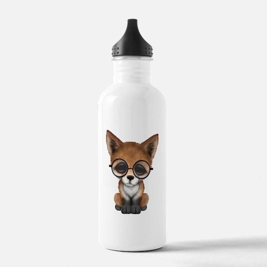 Cute Red Fox Cub Wearing Glasses Water Bottle
