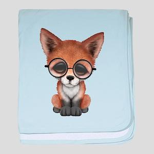 Cute Red Fox Cub Wearing Glasses baby blanket