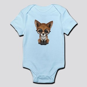 Cute Red Fox Cub Wearing Glasses Body Suit