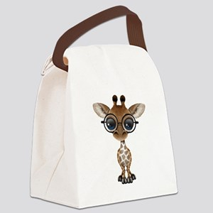 Cute Curious Baby Giraffe Wearing Glasses Canvas L