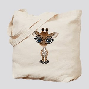 Cute Curious Baby Giraffe Wearing Glasses Tote Bag