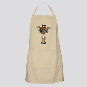 Cute Curious Baby Giraffe Wearing Glasses Apron