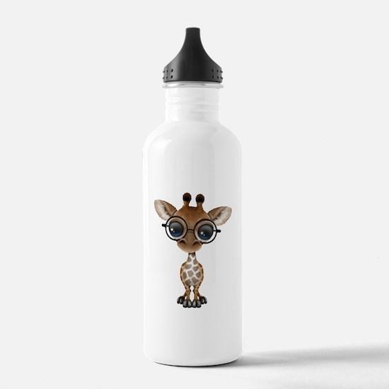 Cute Curious Baby Giraffe Wearing Glasses Water Bo