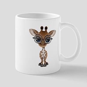 Cute Curious Baby Giraffe Wearing Glasses Mugs