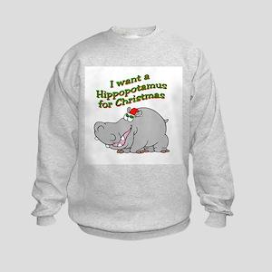 Christmas Hippo Kids Sweatshirt