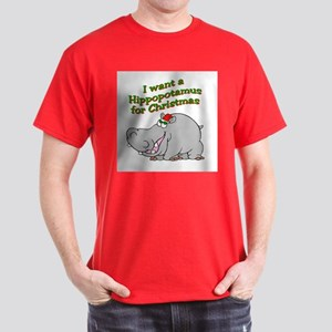 Christmas Hippo Dark T-Shirt