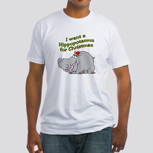 Christmas Hippo Fitted T-Shirt