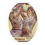 Maud Arizona Vintage Tattooed Lady Print Oval Orna