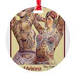 Maud Arizona Vintage Tattooed Lady Print Round Orn