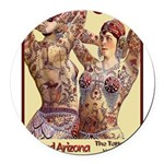 Maud Arizona Vintage Tattooed Lady Print Round Car