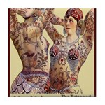 Maud Arizona Vintage Tattooed Lady Print Tile Coas
