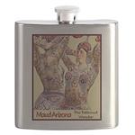 Maud Arizona Vintage Tattooed Lady Print Flask