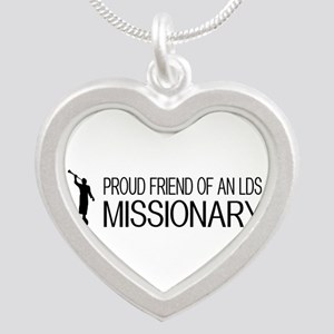 LDS: Proud Missionary Friend Silver Heart Necklace