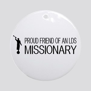 LDS: Proud Missionary Friend (White Round Ornament