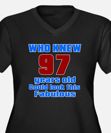 Who Knew 97 Women's Plus Size V-Neck Dark T-Shirt
