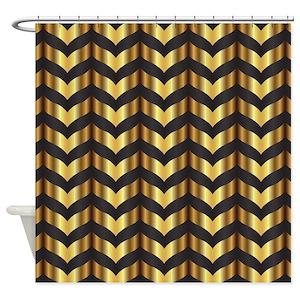 Gold Zig Zag Shower Curtains