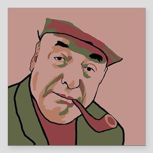 """Pablo Neruda Square Car Magnet 3"""" x 3"""""""