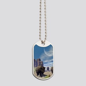Awesome running bisons Dog Tags