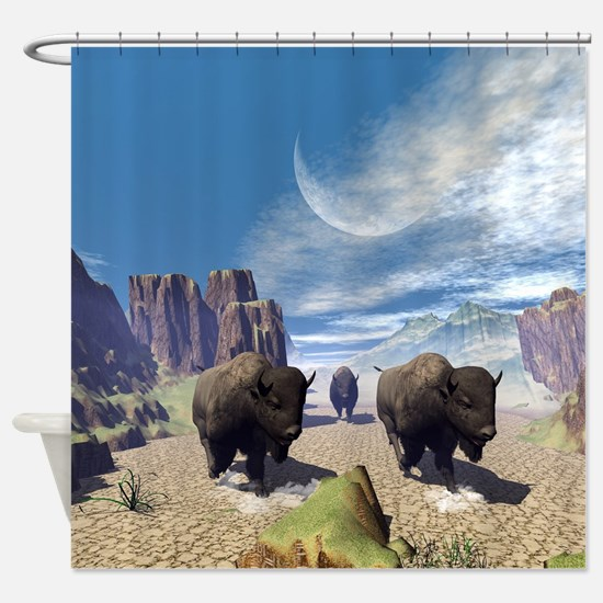 Awesome running bisons Shower Curtain
