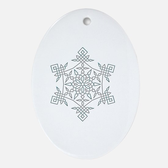 Unique Silver snowflake Oval Ornament