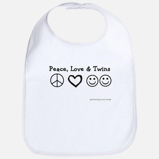 Peace, Love & Twins Bib