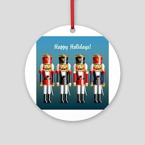 Xmas Nutcracker Soldiers Round Ornament