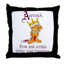 King Garfield Throw Pillow