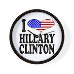 I Love Hillary Clinton Wall Clock