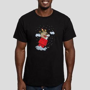 Flying Ace Santa Men's Fitted T-Shirt (dark)