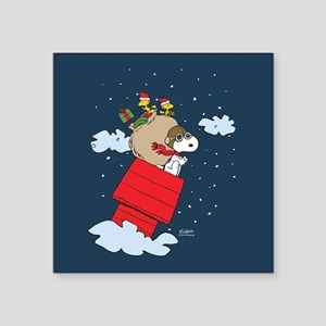 "Flying Ace Santa Square Sticker 3"" x 3"""