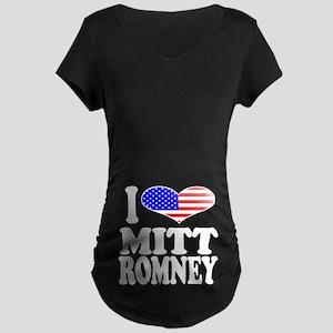 I Love Mitt Romney Maternity Dark T-Shirt