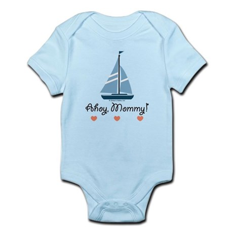 Ahoy Mommy Sailboat Sailing Infant Bodysuit