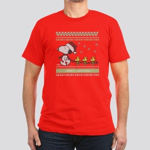 Snoopy Ugly Christmas Men's Fitted T-Shirt (dark)