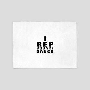 I Rep Square Dance 5'x7'Area Rug