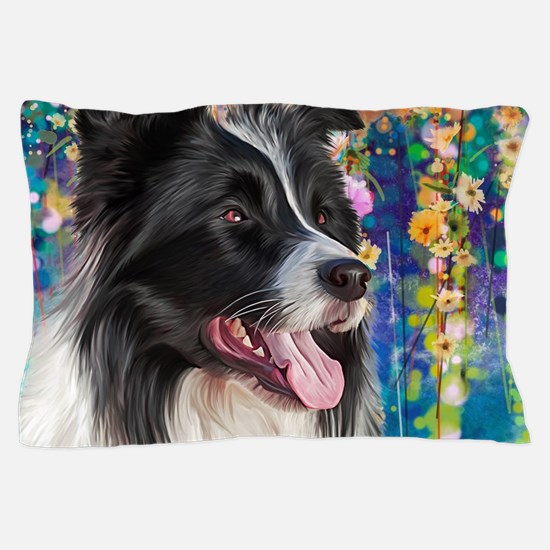 Border Collie Painting Pillow Case