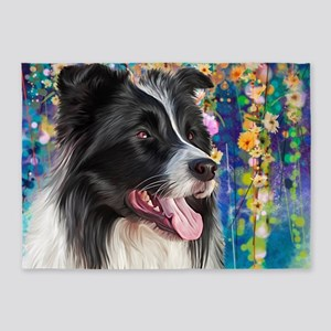 Border Collie Painting 5'x7'Area Rug