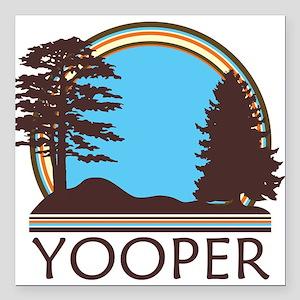 "Vintage Retro Yooper Square Car Magnet 3"" x 3"""