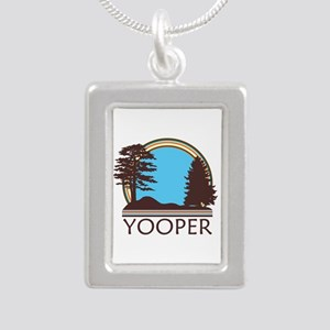 Vintage Retro Yooper Silver Portrait Necklace