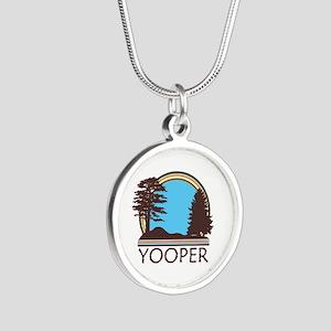 Vintage Retro Yooper Silver Round Necklace