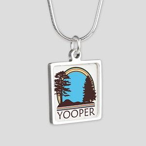 Vintage Retro Yooper Silver Square Necklace