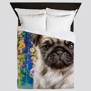 Pug Painting Queen Duvet