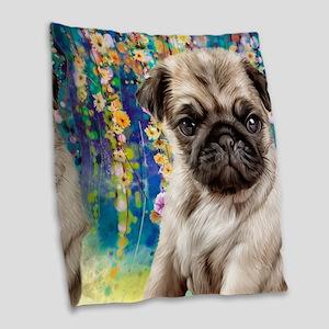 Pug Painting Burlap Throw Pillow