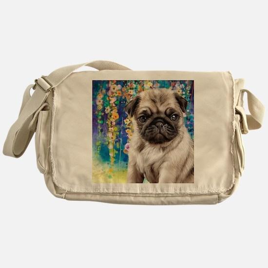 Pug Painting Messenger Bag