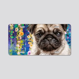 Pug Painting Aluminum License Plate