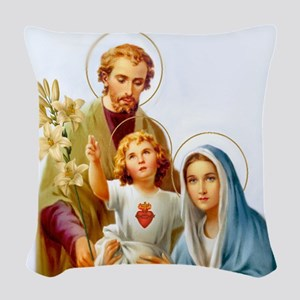 The Holy Family Woven Throw Pillow